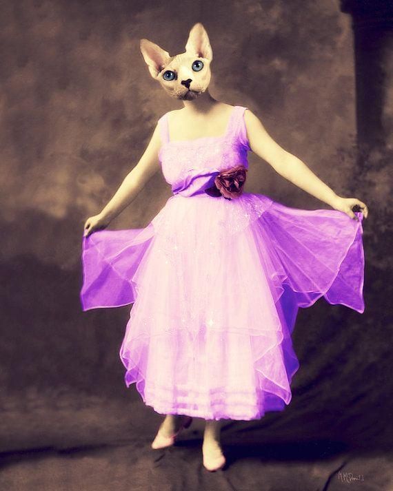 "Cat Art, Collage, Anthropomorphic, Animal Photography, Decorative, Print, Vintage, Creepy, Surreal, Neon, 8 x 10, ""Blanche's New Dress"""