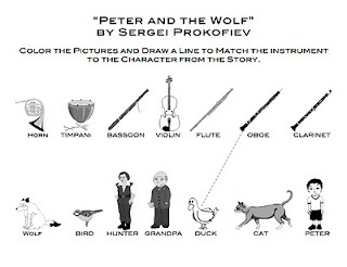 Peter and the Wolf matching and coloring sheet for different centers