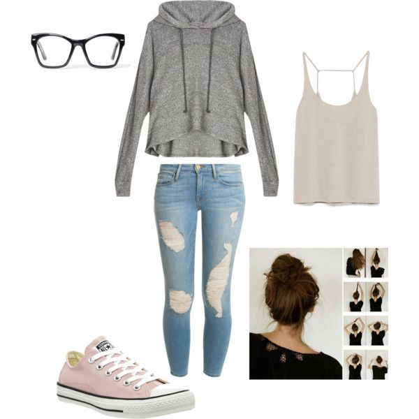 Lazy day in :) by alison-jane-gairns on Polyvore featuring polyvore, fashion, style, LnA, Zara, Frame Denim, Converse and Spitfire