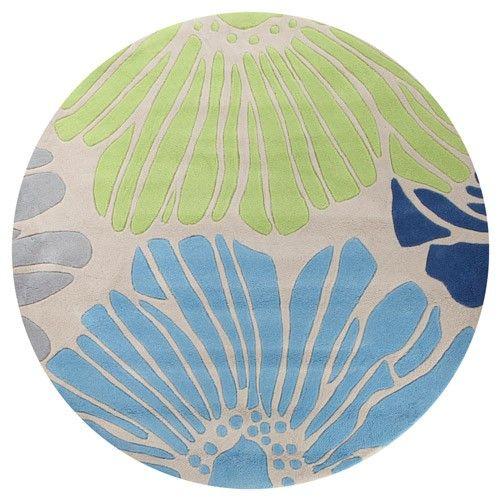 Coral Rose Modern Designer Rug - Blue and Green - 200 x 200cm 6% OFF | $309.00 - Milan Direct