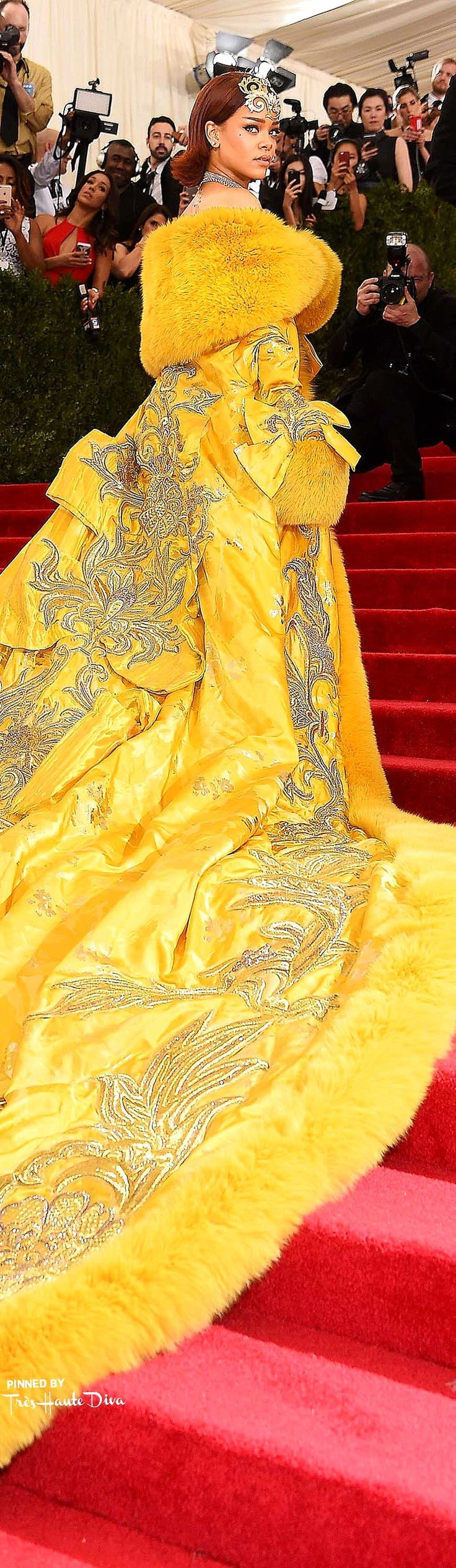 Rihanna in handmade Haute Couture by Guo Pei that took 2 years to make - 2015 Met Gala | House of Beccaria~