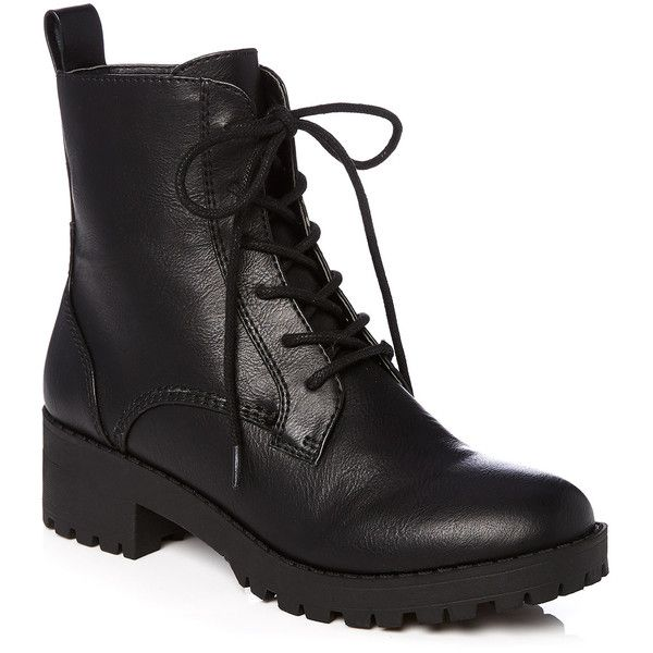 Combat Boot (£49) ❤ liked on Polyvore featuring shoes, boots, lace up combat boots, lacing combat boots, side zipper combat boots, lace up shoes and side zip combat boots