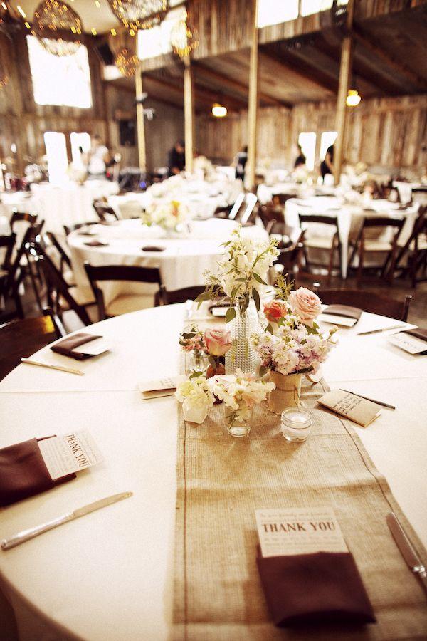 Place menus/thank you message inside napkin. Use burlap runner.