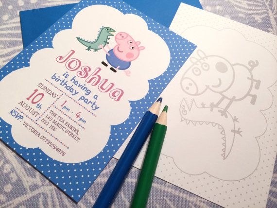 Personalised Childrens Party Invitations    PEPPA PIG    These playful personalised childrens party invitations are perfect for your childs