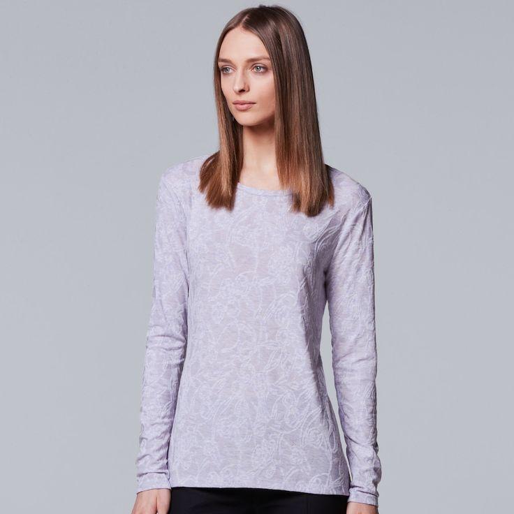 Petite Simply Vera Vera Wang Jacquard Tee, Women's, Size: XL Petite, Brt Purple
