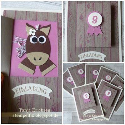 Stampin` Up! Einladung mit Pferd zum Kindergeburtstag, Punch Art