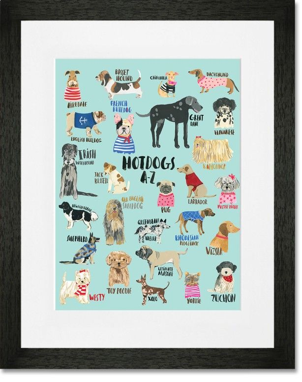 Rosenberry Rooms has everything imaginable for your child's room! Share the news and get $20 Off  your purchase! (*Minimum purchase required.) Hot Dogs A-Z Blue Framed Art Print