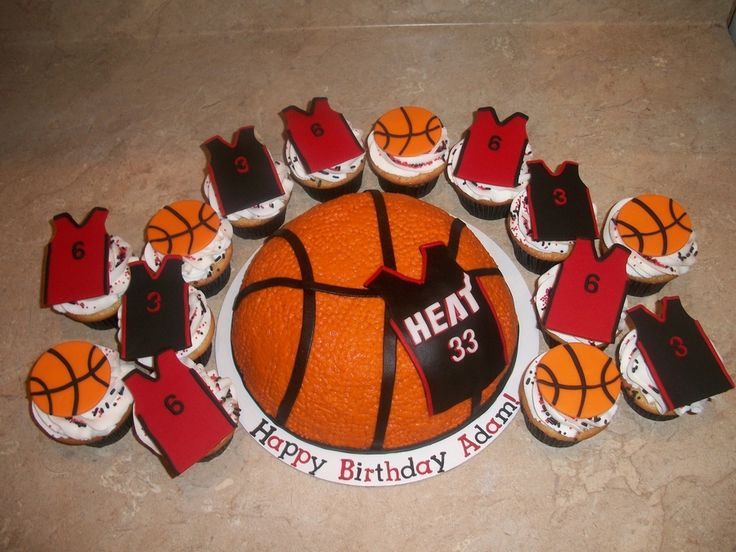 Miami Heat 3D Basketball And Jersey Cupcakes on Cake Central