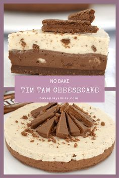 TIM TAM CHEESECAKE (NO-BAKE!!!) It doesn't get any more delicious than this No-Bake Double Layer Tim Tam Cheesecake! With a Tim Tam base, milk and white chocolate layers sprinkled with Tim Tam chunks and extra Tim Tams on top, this really is a chocoholic