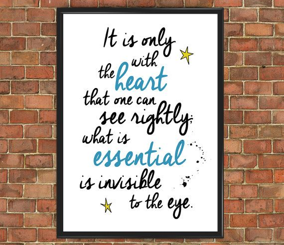 The Little Prince Quote Poster [Famous 005] Le Petit Prince Only With Heart Art Print Wall Decor Home Gift Home Decor Inspirational