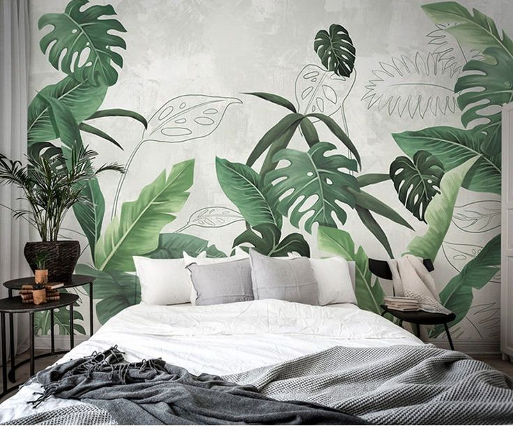 Southeast Asian Rainforest Plant Wall Murals Wall Decor Green Etsy In 2021 Rainforest Plants Tropical Home Decor Tree Wall Murals Green leaf bedroom ideas