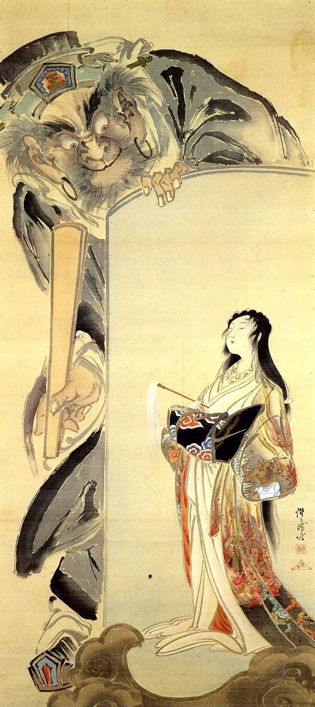 閻魔と地獄太夫図 Enma or Yama (king of the world of the dead, judge of the afterlife) and Hell Courtesan – 河鍋暁斎 Kawanabe Kyōsai (1831-1889)