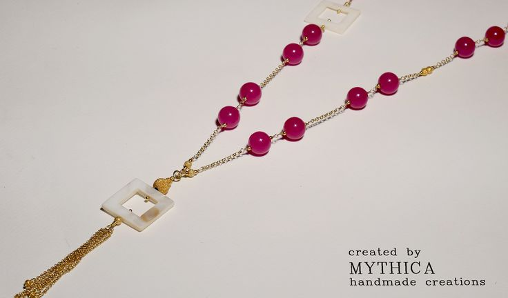 Sterling silver gold plated necklace with semiprecious fuchsia beads! Price : 65 Euros Fb : mythica handmade creations