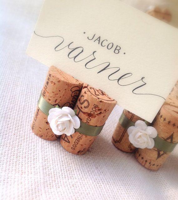 White & Sage Wedding Place Card Holders by KarasVineyardWedding