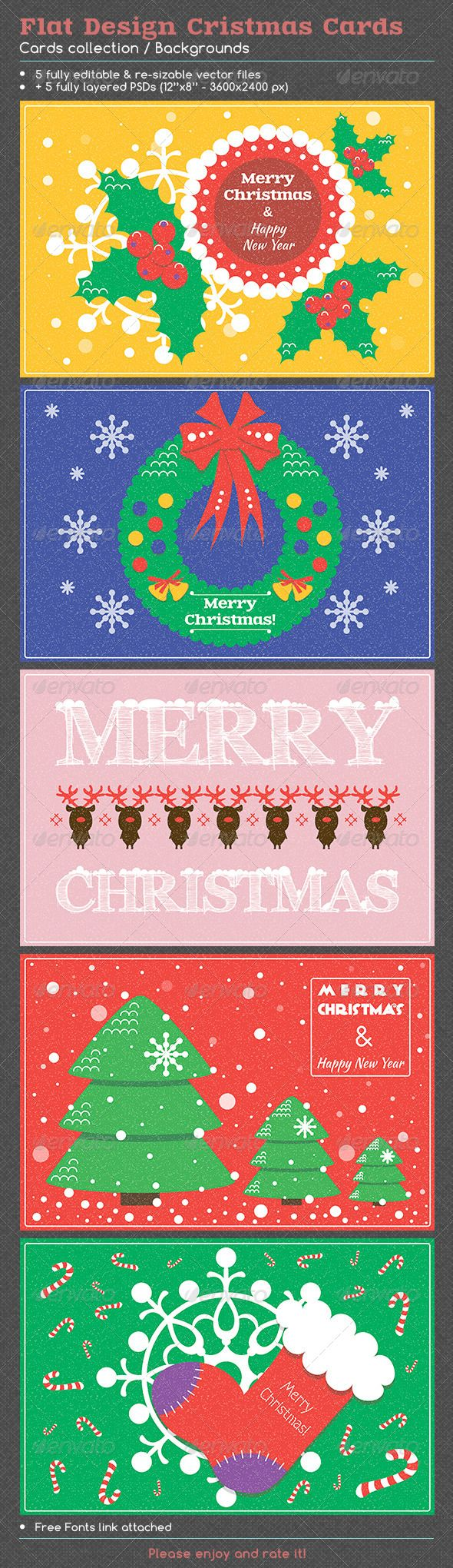 Flat Design Christmas Cards #GraphicRiver Vector set of 5 Christmas cards / Backgrounds with christmas tree, snowflakes, christmas stockings, holly, deer, wreaths, ribbons. Included files: .ai (CS6), .eps (10 version), .psd (CS6), .jpeg (3600×2400 px) EPS, AI, PSD file separate on layers. Free fonts Link attached. .fontsquirrel / Anagram, Comfortaa, Kaushan Script, Zantroke, Arimo, FFF-Tusj Created: 27 November 13 Graphics Files Included: Photoshop PSD #JPG Image #Vector EPS #AI Illustrator…