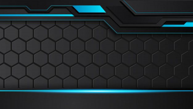 Blue And Black Abstract Metallic Frame Layout Design Tech