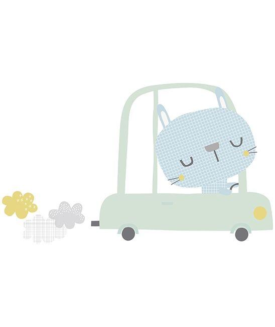 Sticker décoration chambre d'enfant lapin dans sa voiture