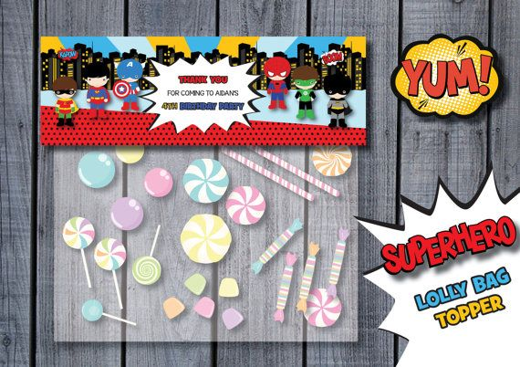 SUPERHERO Personalized Loot Bag Lolly Bag Topper by RedAppleStudio