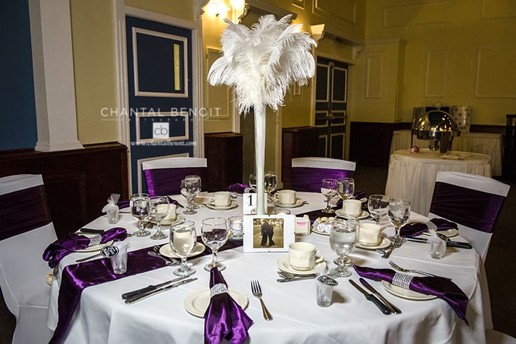 purple wedding reception ideas table runners