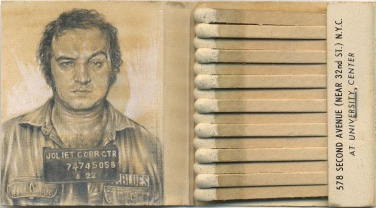 John Belushi miniature on matchbook. By Jason D'Aquino. Courtesy of http://observatory.designobserver.com/feature/accidental-mysteries-011313/37633/