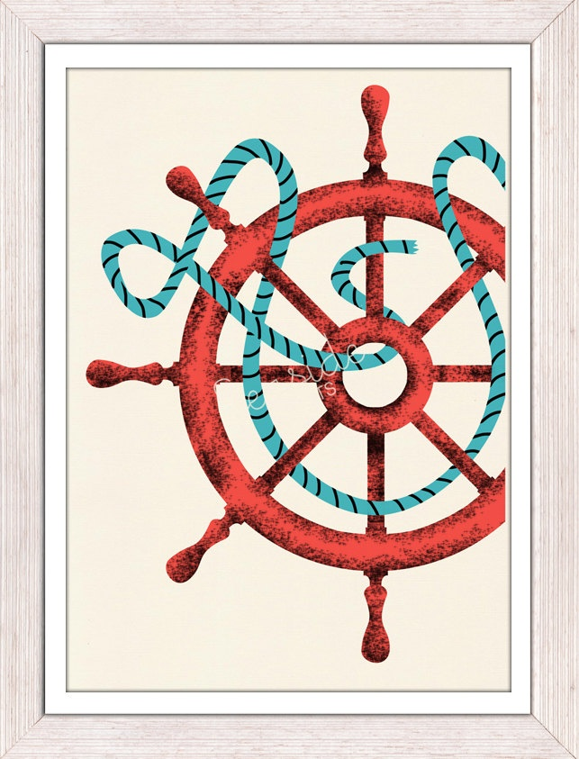 Nautical print poster Vintage Ship Wheel sea by seasideprints