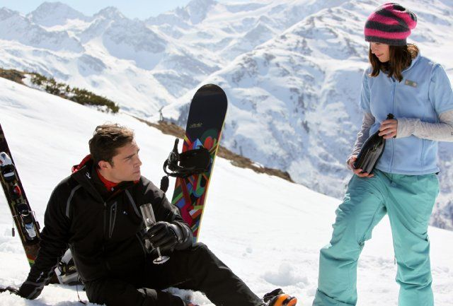 Still of Felicity Jones and Ed Westwick in Chalet Girl (2011)
