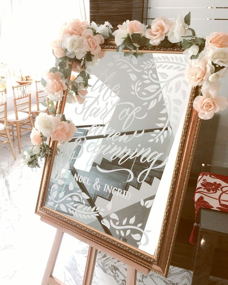 wedding board decor, handlettering with posca white marker on 60x90cm mirror frame