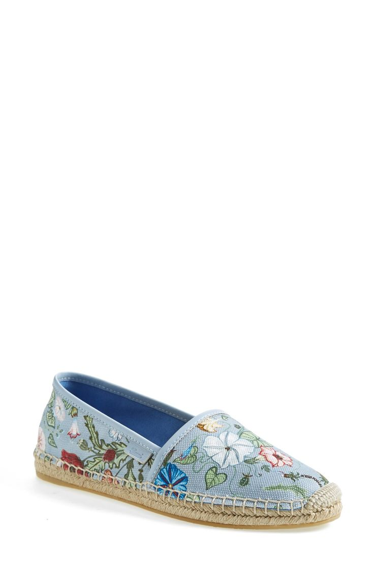 Wearing these Gucci floral print espadrilles with frayed denim shorts and a swing tank.