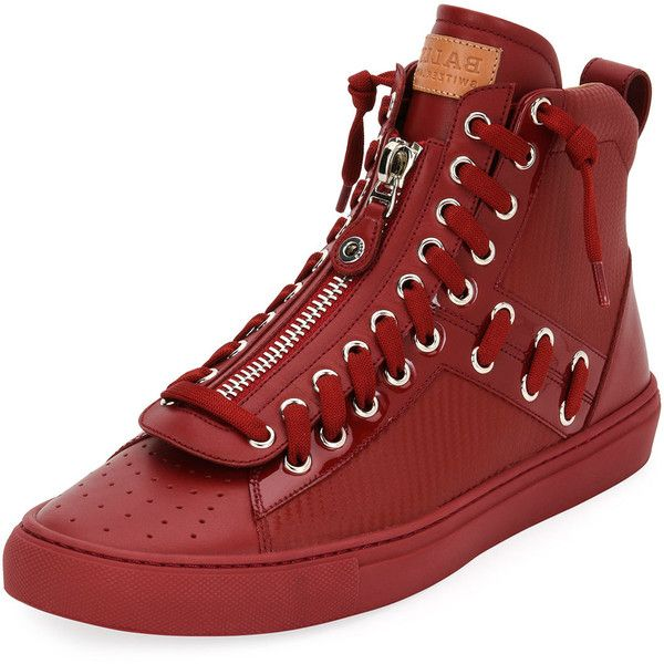 Bally Hekem Patchwork High-Top Sneaker ($595) ❤ liked on Polyvore featuring men's fashion, men's shoes, men's sneakers, red, mens red sneakers, bally mens shoes, mens red shoes, bally mens sneakers and mens high top sneakers
