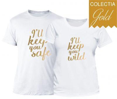 Set tricouri cuplu Safe & Wild - Gold