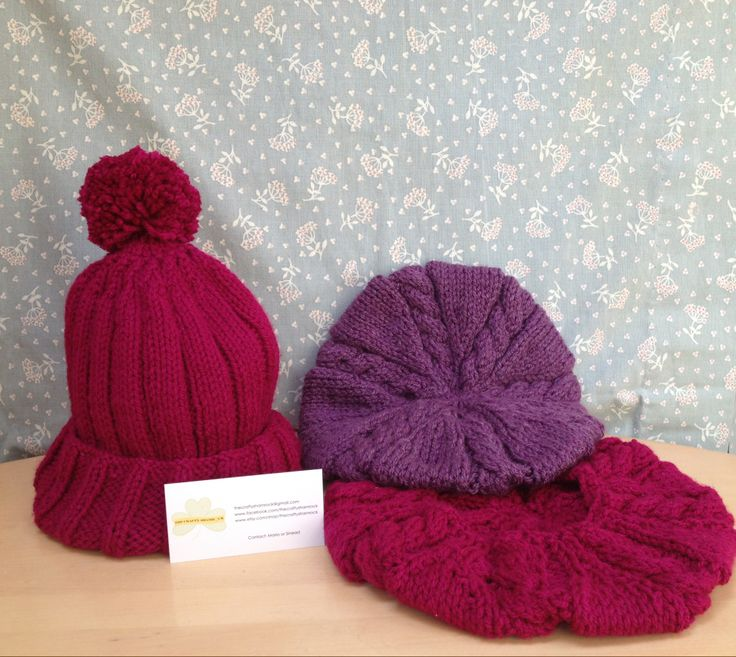 Great Pompom hat for Teens, Chunky Beret, Irish Hand Knitted email thecraftyshamrock@gmail.com