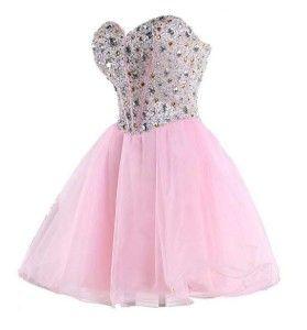 Light pink corset mirror beaded tutu formal prom homecoming dresses - under $100 prom dress