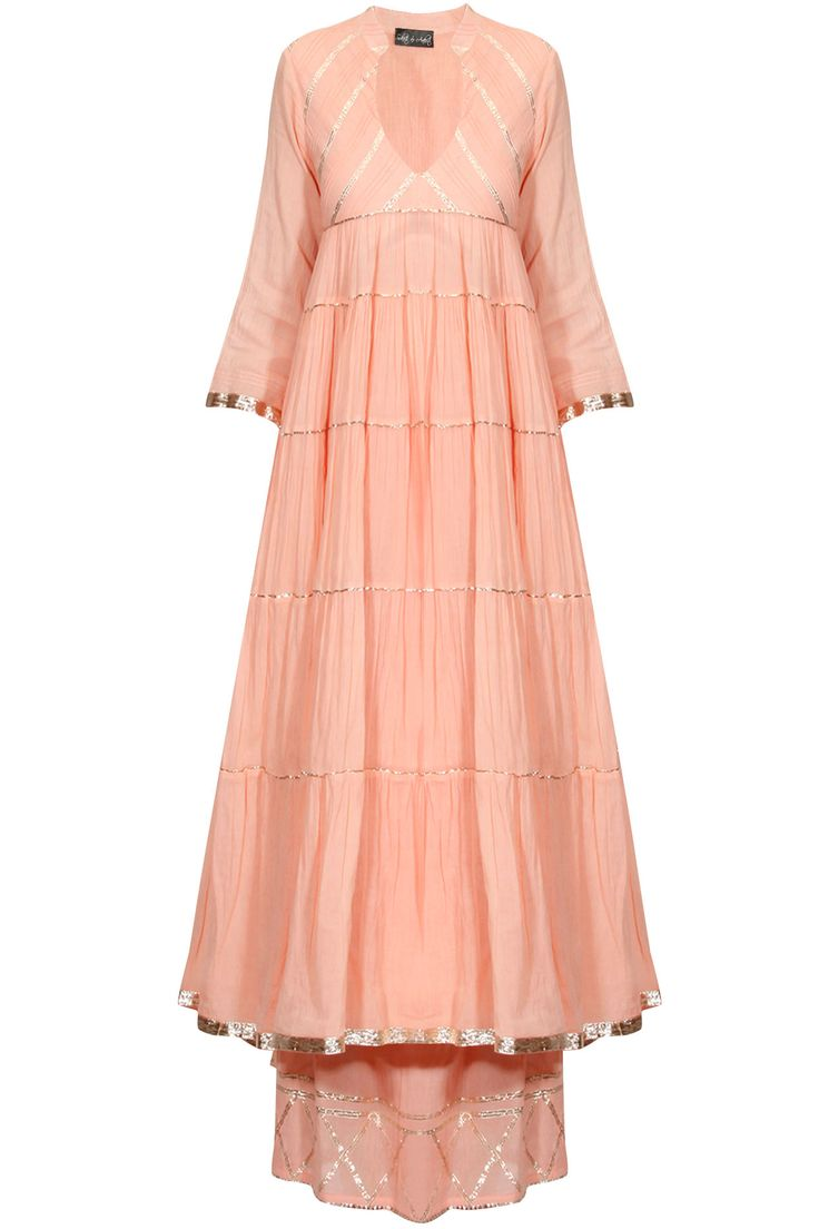 Peach gota patti work flared anarkali and pyjama set available only at Pernia's Pop Up Shop.
