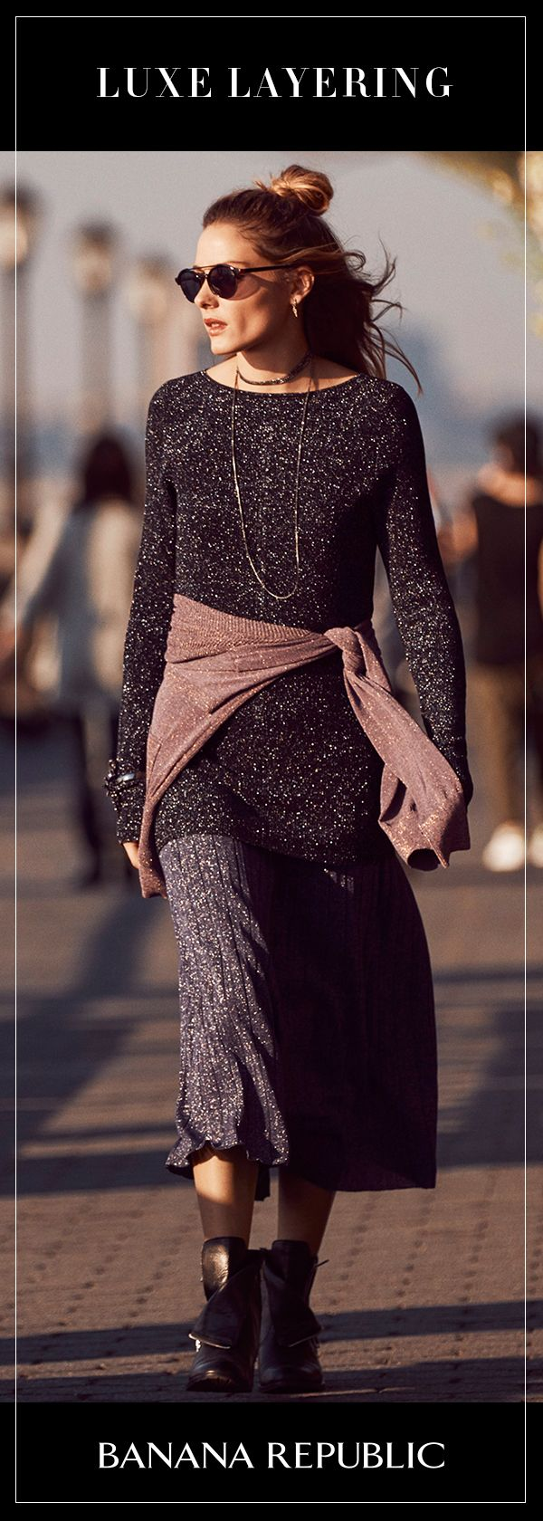 Luxe Layering – Embrace layering to make an outfit more than the sum of its parts with our metallic ribbed boatneck tunic. This fitted piece is made with an eye-catching shine fabric that's still soft. Featuring Banana Republic's Global Style Ambassador Olivia Palermo. Shop Olivia's Picks