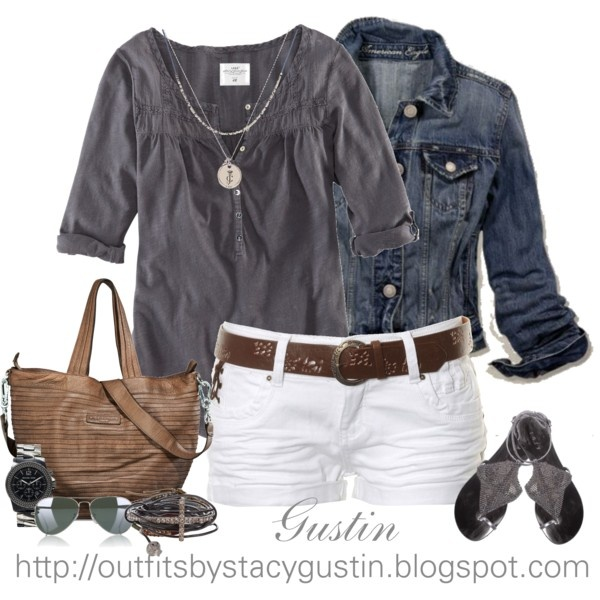 gray shirt, created by stacy-gustin on Polyvore: White Shorts, Summer Looks, Casual Summer, Summer Outfit, Jeans Jackets, Summer Style, Shirts, Denim Jackets, Summer Night