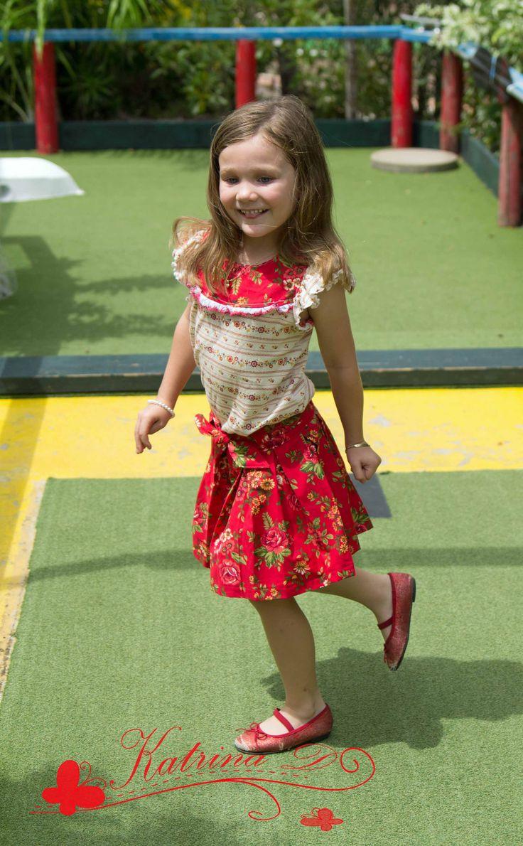 Poppy Skirt test from Petite Stitchery.  A beautiful little box pleat skirt.
