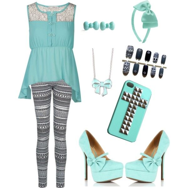 Bows and Class Tiffany blue bows classy teen fashion heels lace shirt Aztec leggings nails necklace earrings