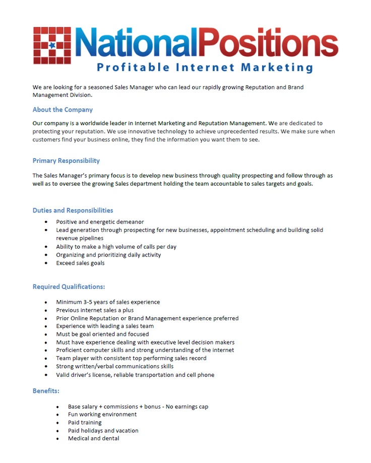National Sales Manager Cover Letter 27.05.2017