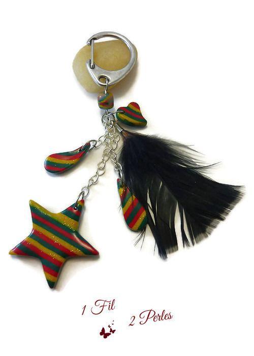 RESERVE - Bijoux de Sac Porte Clé Thème Noel Etoile Coeur et Plume Noire : Porte clés par 1-fil-2-perles