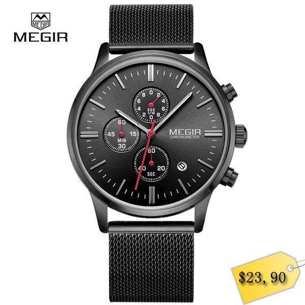 MEGIR relogio masculino men's quartz watches fashion waterproof mesh band watch for man luminous hour for male dress watch 2011