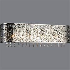 "Show details for 26"" Web Modern Laser Cut Crystal Rectangular Vanity Light Stainless Steel 4 Lights"