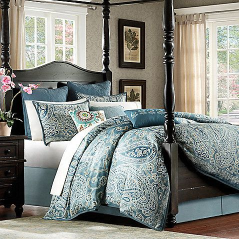 The Belcourt duvet cover gives a worldly look to your bedroom with an oversized paisley design in a rich array of blues and greens. This luxurious bedding is made from 250 thread count cotton sateen for a super-soft bed you'll love climbing into at night.