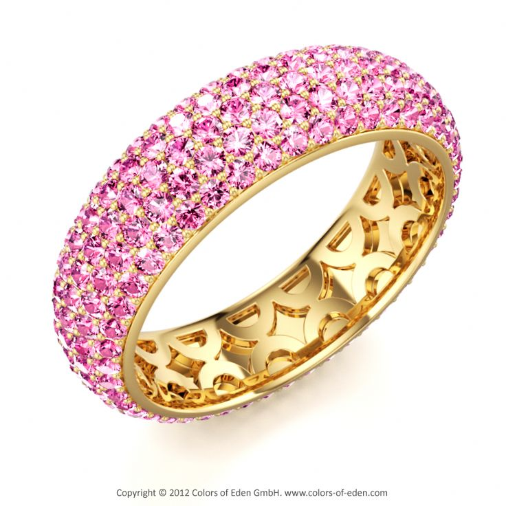 Pink Sapphire Ring #pave #gold #band