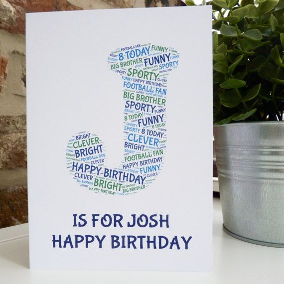 Personalised Initial Birthday Card , Special Card, Personalised Birthday Card, Initial Card, Birthday Card
