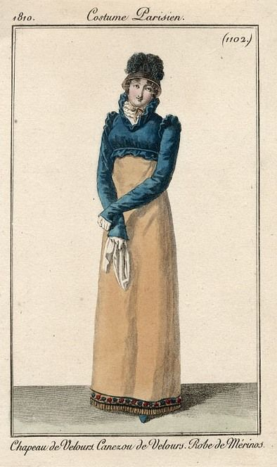 Absolutely a favourite fashion plate and blue spencer with beige dress. Costume parisien, 1810