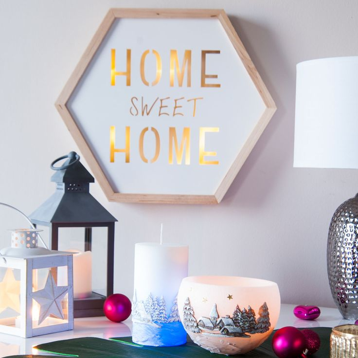 Világító fali dekoráció Home sweet Home felirattal, LED-es, hatszögletű - FJORD