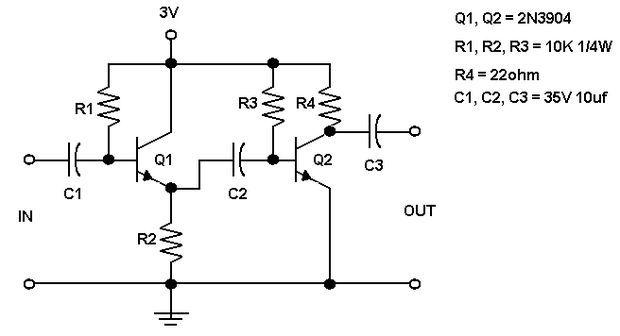 esquema de un previo amplificador con dos transistores