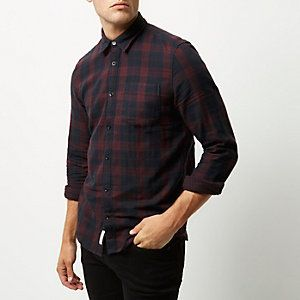 Dark red double faced check shirt