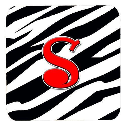 Set of 4 Monogram - Zebra Red Foam Coasters Initial Letter S
