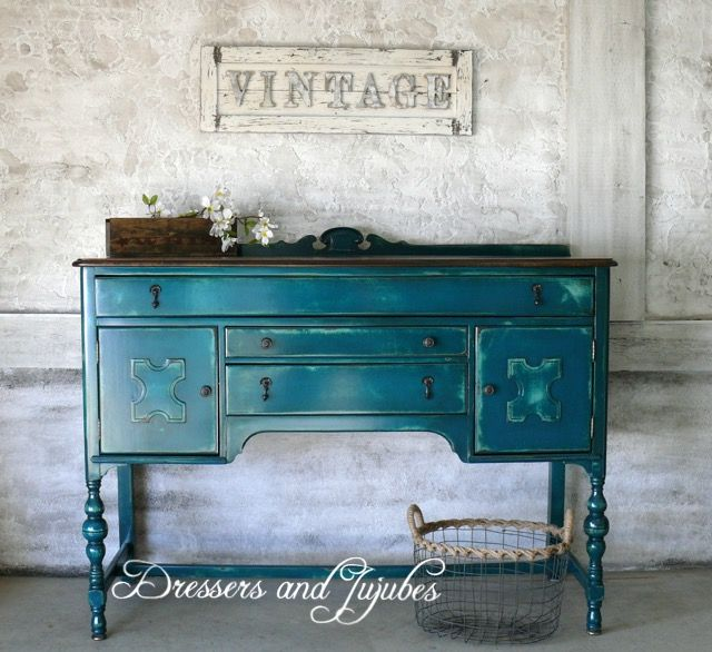 Teal Antique Buffet Refinishing Furniture Painted Furniture Colors Flipping Furniture